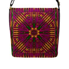 Feather Stars Mandala Pop Art Flap Messenger Bag (l)  by pepitasart
