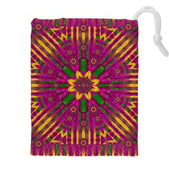 Feather Stars Mandala Pop Art Drawstring Pouches (xxl) by pepitasart