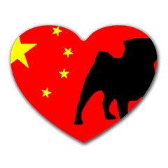 Pug China Flag Heart Mousepads by TailWags
