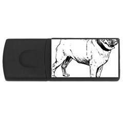 Pug Drawing USB Flash Drive Rectangular (2 GB)