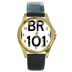 Brazil Br 101 Transcoastal Highway  Round Gold Metal Watch by abbeyz71