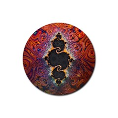 The Eye Of Julia, A Rainbow Fractal Paint Swirl Rubber Coaster (round)  by beautifulfractals