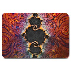 The Eye Of Julia, A Rainbow Fractal Paint Swirl Large Doormat  by beautifulfractals