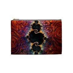 The Eye Of Julia, A Rainbow Fractal Paint Swirl Cosmetic Bag (medium)  by beautifulfractals