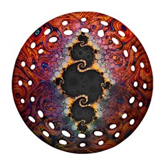 The Eye Of Julia, A Rainbow Fractal Paint Swirl Ornament (round Filigree) by jayaprime