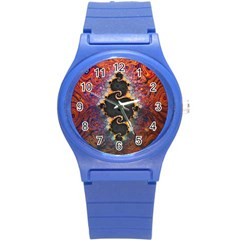 The Eye Of Julia, A Rainbow Fractal Paint Swirl Round Plastic Sport Watch (s) by jayaprime