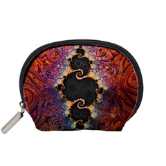 The Eye Of Julia, A Rainbow Fractal Paint Swirl Accessory Pouches (small)  by jayaprime