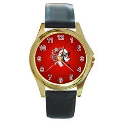 Funny Santa Claus  On Red Background Round Gold Metal Watch by FantasyWorld7