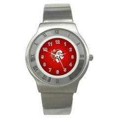 Funny Santa Claus  On Red Background Stainless Steel Watch by FantasyWorld7