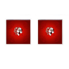 Funny Santa Claus  On Red Background Cufflinks (square) by FantasyWorld7