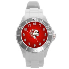 Funny Santa Claus  On Red Background Round Plastic Sport Watch (l) by FantasyWorld7