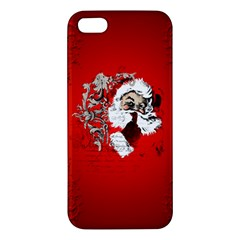 Funny Santa Claus  On Red Background Apple Iphone 5 Premium Hardshell Case by FantasyWorld7