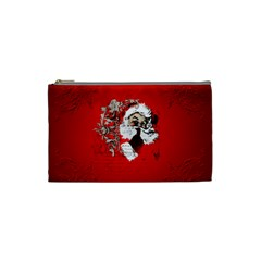 Funny Santa Claus  On Red Background Cosmetic Bag (small)  by FantasyWorld7