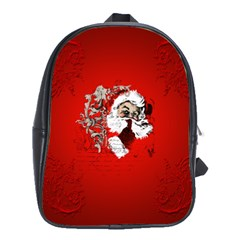 Funny Santa Claus  On Red Background School Bags(large)  by FantasyWorld7
