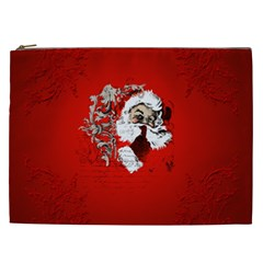 Funny Santa Claus  On Red Background Cosmetic Bag (xxl)  by FantasyWorld7