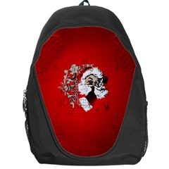 Funny Santa Claus  On Red Background Backpack Bag by FantasyWorld7