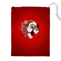 Funny Santa Claus  On Red Background Drawstring Pouches (xxl) by FantasyWorld7