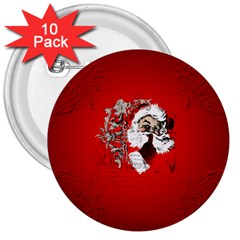 Funny Santa Claus  On Red Background 3  Buttons (10 Pack)