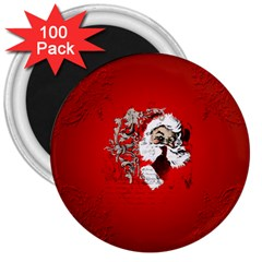 Funny Santa Claus  On Red Background 3  Magnets (100 Pack) by FantasyWorld7