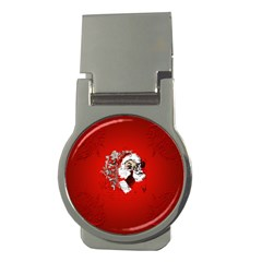 Funny Santa Claus  On Red Background Money Clips (round)  by FantasyWorld7