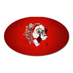 Funny Santa Claus  On Red Background Oval Magnet by FantasyWorld7