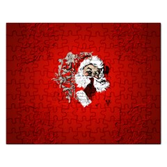 Funny Santa Claus  On Red Background Rectangular Jigsaw Puzzl by FantasyWorld7