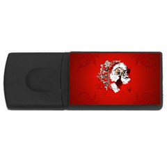 Funny Santa Claus  On Red Background Usb Flash Drive Rectangular (4 Gb) by FantasyWorld7