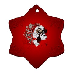Funny Santa Claus  On Red Background Snowflake Ornament (two Sides) by FantasyWorld7