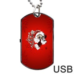 Funny Santa Claus  On Red Background Dog Tag Usb Flash (two Sides) by FantasyWorld7