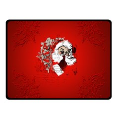 Funny Santa Claus  On Red Background Double Sided Fleece Blanket (small)  by FantasyWorld7