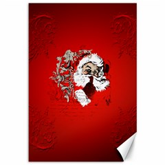 Funny Santa Claus  On Red Background Canvas 12  X 18   by FantasyWorld7