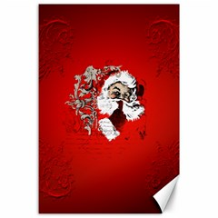 Funny Santa Claus  On Red Background Canvas 24  X 36  by FantasyWorld7