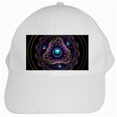 Beautiful Turquoise And Amethyst Fractal Jewelry White Cap by beautifulfractals