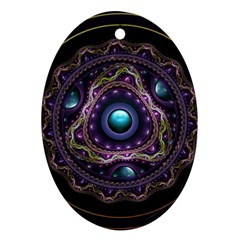 Beautiful Turquoise And Amethyst Fractal Jewelry Ornament (oval) by jayaprime