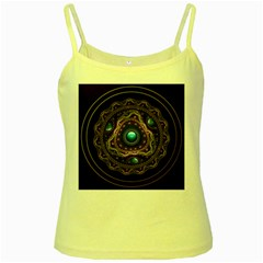 Beautiful Turquoise And Amethyst Fractal Jewelry Yellow Spaghetti Tank by jayaprime