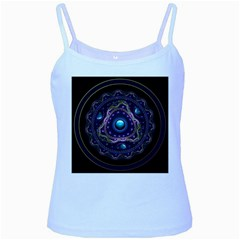 Beautiful Turquoise And Amethyst Fractal Jewelry Baby Blue Spaghetti Tank by jayaprime