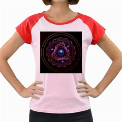 Beautiful Turquoise And Amethyst Fractal Jewelry Women s Cap Sleeve T Shirt by jayaprime
