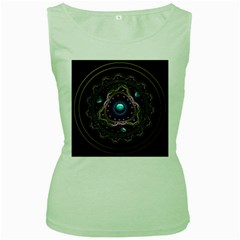 Beautiful Turquoise And Amethyst Fractal Jewelry Women s Green Tank Top by jayaprime