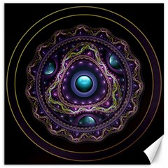 Beautiful Turquoise And Amethyst Fractal Jewelry Canvas 16  X 16   by jayaprime