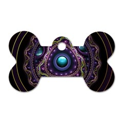 Beautiful Turquoise And Amethyst Fractal Jewelry Dog Tag Bone (two Sides) by jayaprime