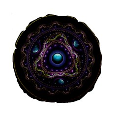 Beautiful Turquoise And Amethyst Fractal Jewelry Standard 15  Premium Round Cushions by beautifulfractals