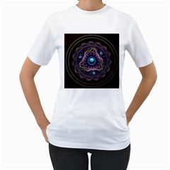 Beautiful Turquoise And Amethyst Fractal Jewelry Women s T Shirt (white)  by jayaprime