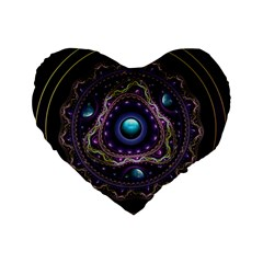 Beautiful Turquoise And Amethyst Fractal Jewelry Standard 16  Premium Flano Heart Shape Cushions by jayaprime