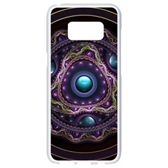 Beautiful Turquoise And Amethyst Fractal Jewelry Samsung Galaxy S8 White Seamless Case by jayaprime
