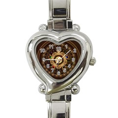 Gathering The Five Fractal Colors Of Magic Heart Italian Charm Watch by jayaprime