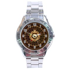 Gathering The Five Fractal Colors Of Magic Stainless Steel Analogue Watch by jayaprime
