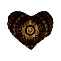 Gathering The Five Fractal Colors Of Magic Standard 16  Premium Heart Shape Cushions by jayaprime