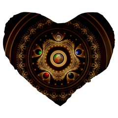 Gathering The Five Fractal Colors Of Magic Large 19  Premium Heart Shape Cushions by beautifulfractals