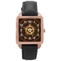 Gathering The Five Fractal Colors Of Magic Rose Gold Leather Watch  by jayaprime