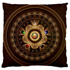 Gathering The Five Fractal Colors Of Magic Large Flano Cushion Case (two Sides) by jayaprime